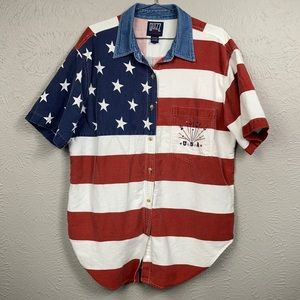 Vintage Quizz New York American Flag 2000 Shirt 20